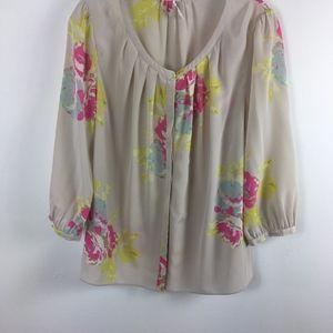 Boden silk peasant blouse women's 10 button front
